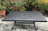 Outdoor coffee table cast aluminum rectangular porch patio garden Nassau decor