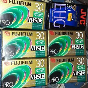 5 Fuji Film Pro VHS-C TC-30 Blank Premium High Grade Camcorder Tapes + 1 JVC NEW