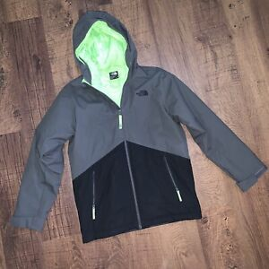 NEW! THE NORTH FACE BLACK GRAY LIME WINDWALL HOODED JACKET! LARGE 14/16