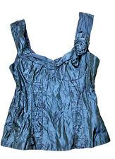 STUNNING Nanette Lepore Blue Black Metallic Bustier Top Full Zipper Back Sz 2/4