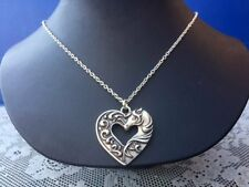 Western Equestrian Antique Silver Horse N Heart Necklace