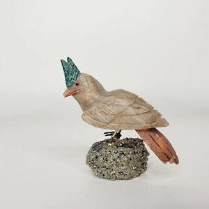 """Peruvian Stone Song Bird Handcrafted Carved Bird Gray and Turquoise 3.5"""""""
