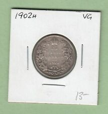 1902-H Canadian 25 Cents Silver Coin - VG