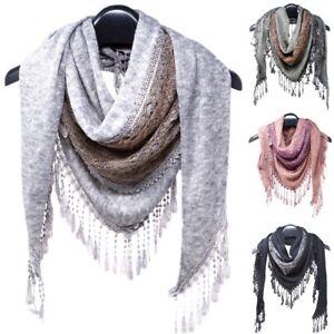 Elegant women winter warm triangle Knitted long scarf & lace shawl wrap fringe