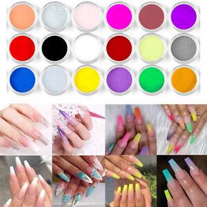 18 Colors Set Acrylic Nail Art Tips UV Gel Powder Dust Manicure DIY Decor #UK