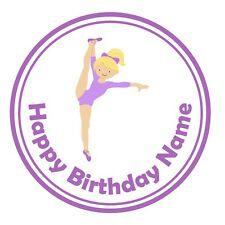 24 icing cake decorations toppers personalised purple gymnastics dark blonde