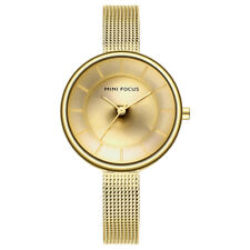 Ladies Slim Quartz Analog Wrist Watch Dress  Mesh Belt Women Wristwatch Gold