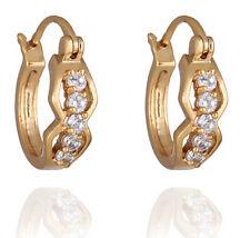 18 k Gold Plated Jewellery Small Girls Women White Zircons Hoops Earrings E717