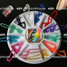 12 Colors 3D Nail Art Mixed Chain Decoration Rhinestones + Wheel #EB-011