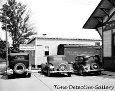 Classic Cars at Famer's Co-op, Morrisville, Vermont - 1936 -Historic Photo Print