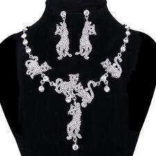Cat Animal Clear Austrian Crystal Drop Necklace Earrings Set Silver GP Women