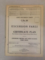 March1927 Joint ExcursionTariff C-No. 88 Railroad Excursion Fares