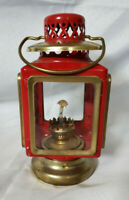 Vintage Oil Lantern, Red and Gold Brass Carriage ~7.5 inch tall
