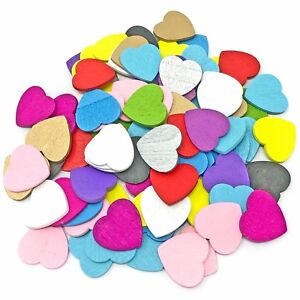 Multi-coloured 18mm Love Hearts Wooden ShabbyChic Craft Scrapbook Vintage Hearts