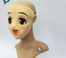 latex Female Sweet Girl Half Head Kigurumi Mask With BJD Eyes cartoon Cosplay Ja