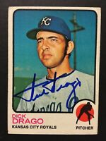 Dick Drago Royals Signed 1973 Topps Baseball Card #392 Auto Autograph