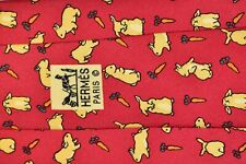 """Men's Authentic Hermes Paris 7425 HA Red Neck Tie made in France """"Rabbits"""""""
