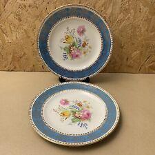 2 x Vintage Crown Clarence Gold Floral Plates - Blue Band - 23cm