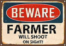BEWARE FARMER WILL SHOOT ON SIGHT,COLLECTABLE,VINTAGE STYLE, METAL SIGN,563
