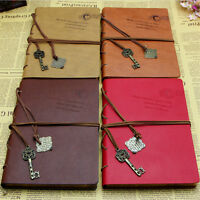 Retro Vintage Classic PU Leather Diary Notebook String Key Journal Sketchbook GF