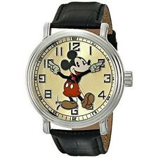 Walt Disney Retro Mickey Mouse Men's Watch Croc Black Leather Band NEW