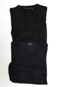 Barneys New York  Womens V Neck Long Sleeve Top Black Size Large LOT 2