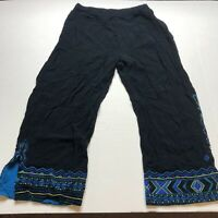 Chicos Sz 3 Black Blue Embroidered Beaded Crop Pants A1753