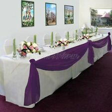 PURPLE Elegant Wedding Table Valance Chair Decor Sheer Swags Fabric Any Party