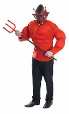 MENS HALLOWEEN RED DEVIL DEMON PADDED MUSCLE COSTUME GENTS FANCY DRESS OUTFIT