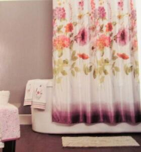 RAINBOW GARDEN Shower Curtain Large Flower Print for Your Floral Bath Orig $50