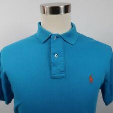 Polo Ralph Lauren Mens Soft Cotton SS Solid Bright Blue Polo Shirt Medium