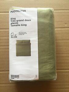 New IKEA PUDERVIVA King Duvet cover 2 pillowcases set, Light Olive Green Linen