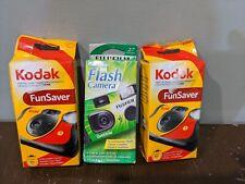 Lot of 3 One Time Single Use Disposable 35mm Camera w/ Flash 2 Kodak 1 Fuji Exp.