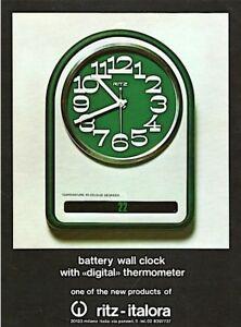 vintage 1975 color print ad RITZ WALL CLOCK Swiss watch MID CENTURY ART