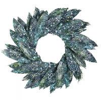 "Enesco Coast Pearl Bay Watercolor Wreath Ocean Beach Peacock Feather Blue 26"""