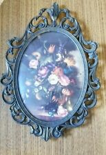 Vintage Italian Picture Frame Brass Ornate Scrolling Convex Glass Flowers Roses