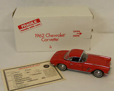 Danbury Mint 1962 Chevrolet CORVETTE Roman Red CONVERTIBLE 1:24 Diecast Car NEW