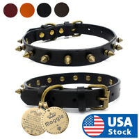 Dog Pet Cat Leather Personalised Collar With Name Plate Custom Engrgavd ID Tag
