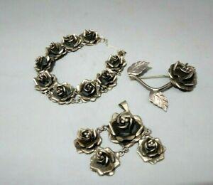 SCC signed Sterling Silver Taxco ROSE set bracelet, pin, pendant