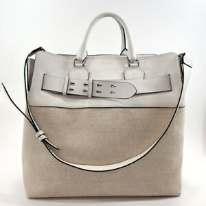 BURBERRY Tote Bag 2way canvas/leather white/Ivory unisex