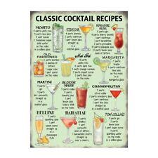 Classic Cocktail Ricette IN METALLO INSEGNA TARGA STAMPA Bar Cafe Cucina Ristorante