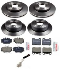 Mercedes W124 W201 Front And 2 Rear Disc Brake Rotors with Pads & Sensors Kit