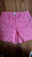 """KIM ROGERS SIZE 14 PINK AND WHITE FLORAL SHORTS  37"""" WAIST 12"""" RISE  6.5"""" INSEAM"""