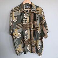 VTG Hawaiian Geometru Camp BUTTON Shirt RAYON Rockabilly Abstract Earth Tones XL