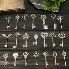 Vintage Set 30 Keys Skeleton Antique Silver Collectible Metal Alloy Home Decor
