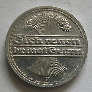 GERMANY - 50 PFENNIG - ALUMINUM 1922 J - KM # 27