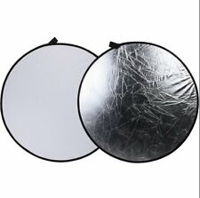 "2 in 1 43"" 110cm White/Silver Studio Light Mulit Collapsible disc Reflector DSLR"