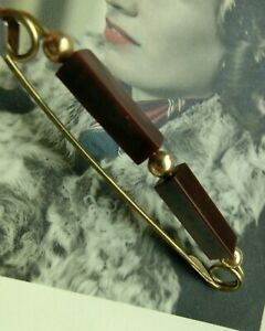 alte Brosche Sicherheitsnadel vintage Schmuck Perlen gold Stabperlen braun