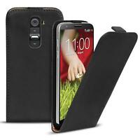 Flip Case LG G2 Hülle Pu Leder Klapphülle Handy Tasche Cover Schwarz
