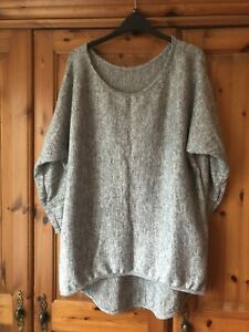 Made In Italy Lagenlook Grey Lightweight Jumper  Top One Size